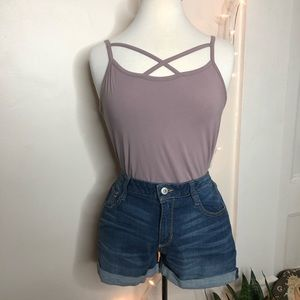 Say What? cross front strappy mauve bodysuit